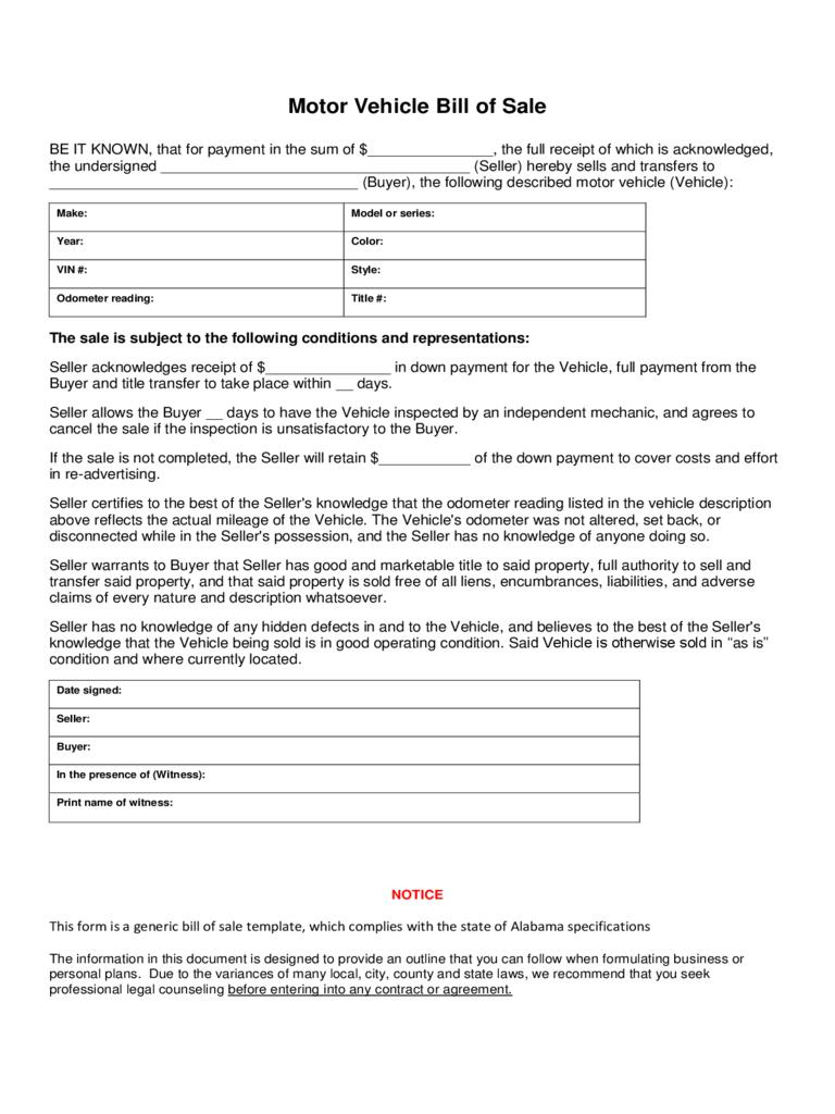 Bill Of Sale Template For Car Maine