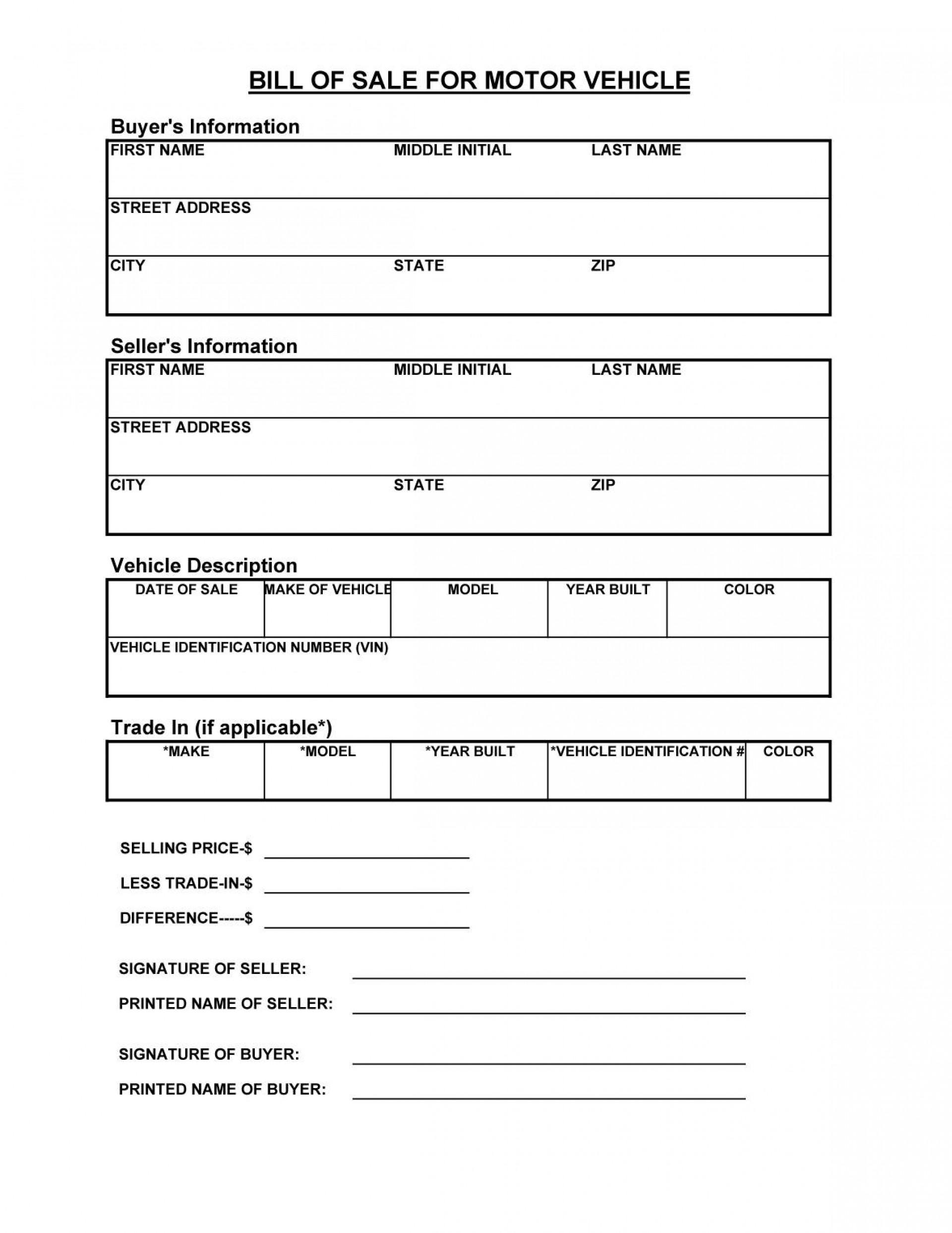 Bill Of Sale Template For Car Nsw