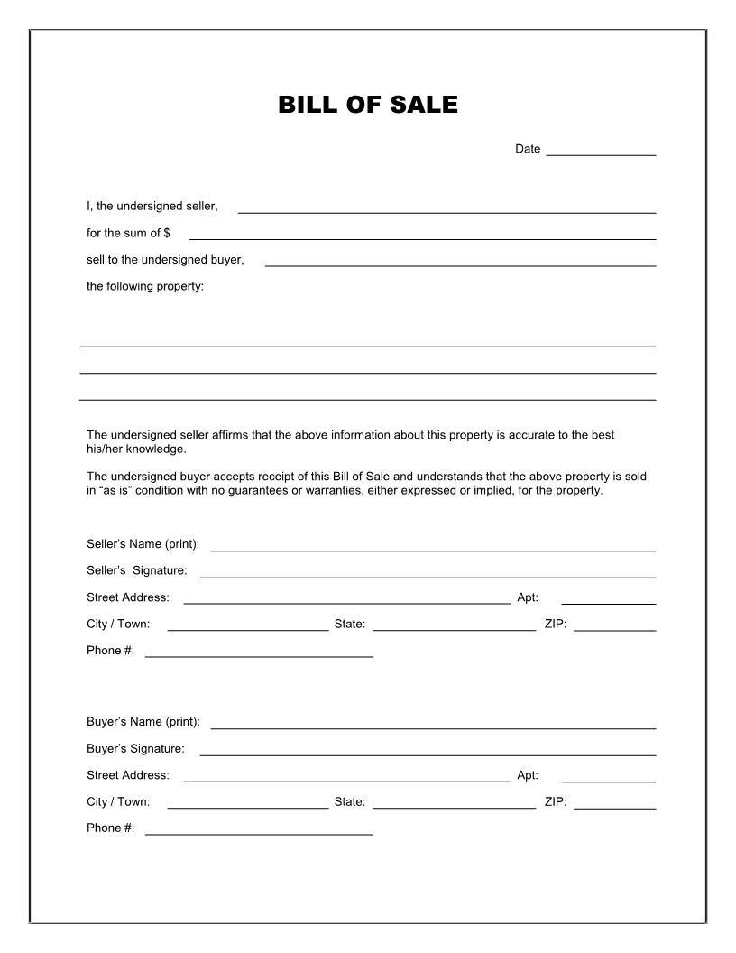 Bill Of Sale Template For Car Washington State