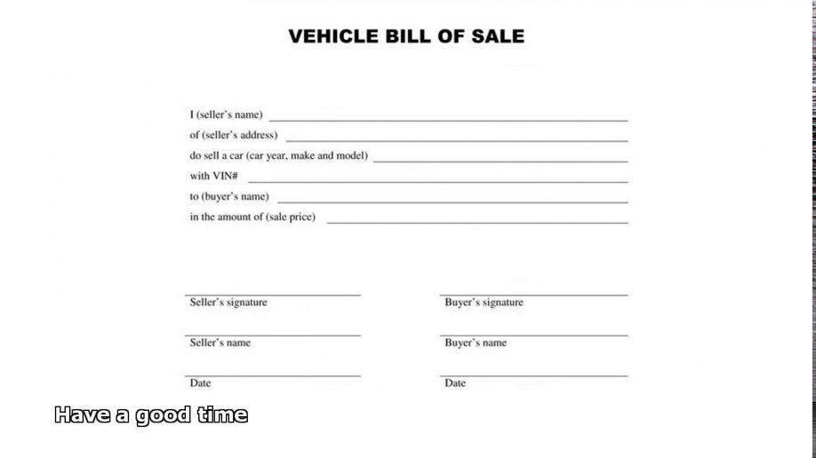 Bill Of Sale Template Maine