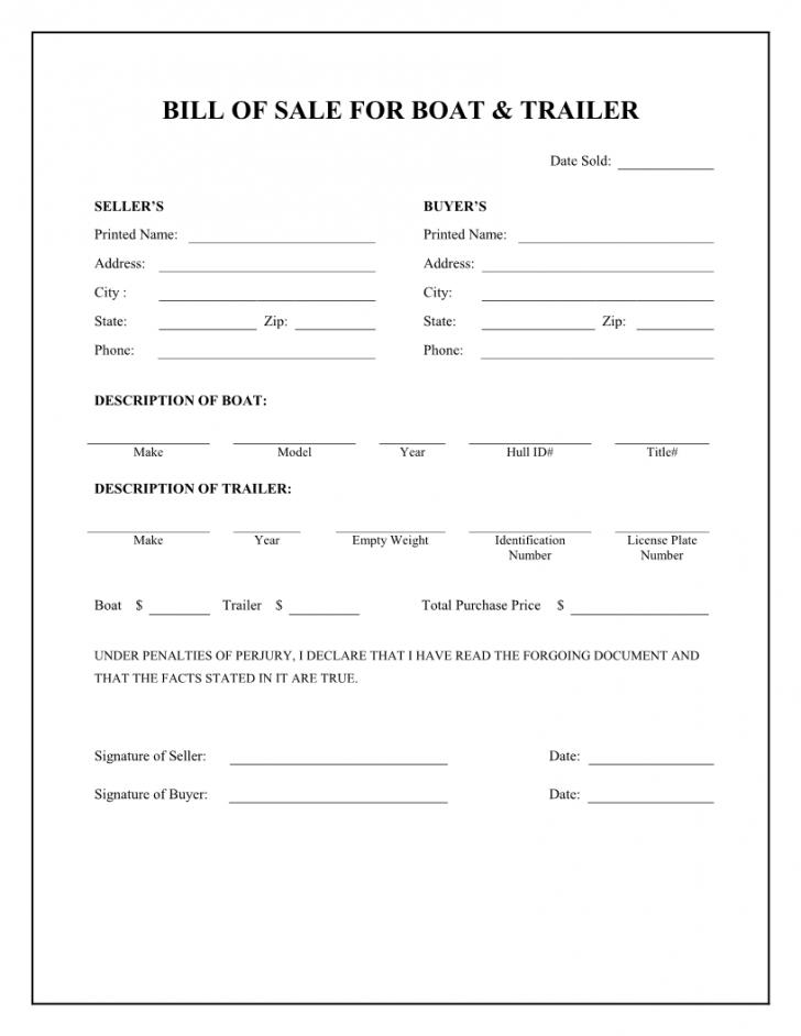 Bill Of Sale Word Template For Boat