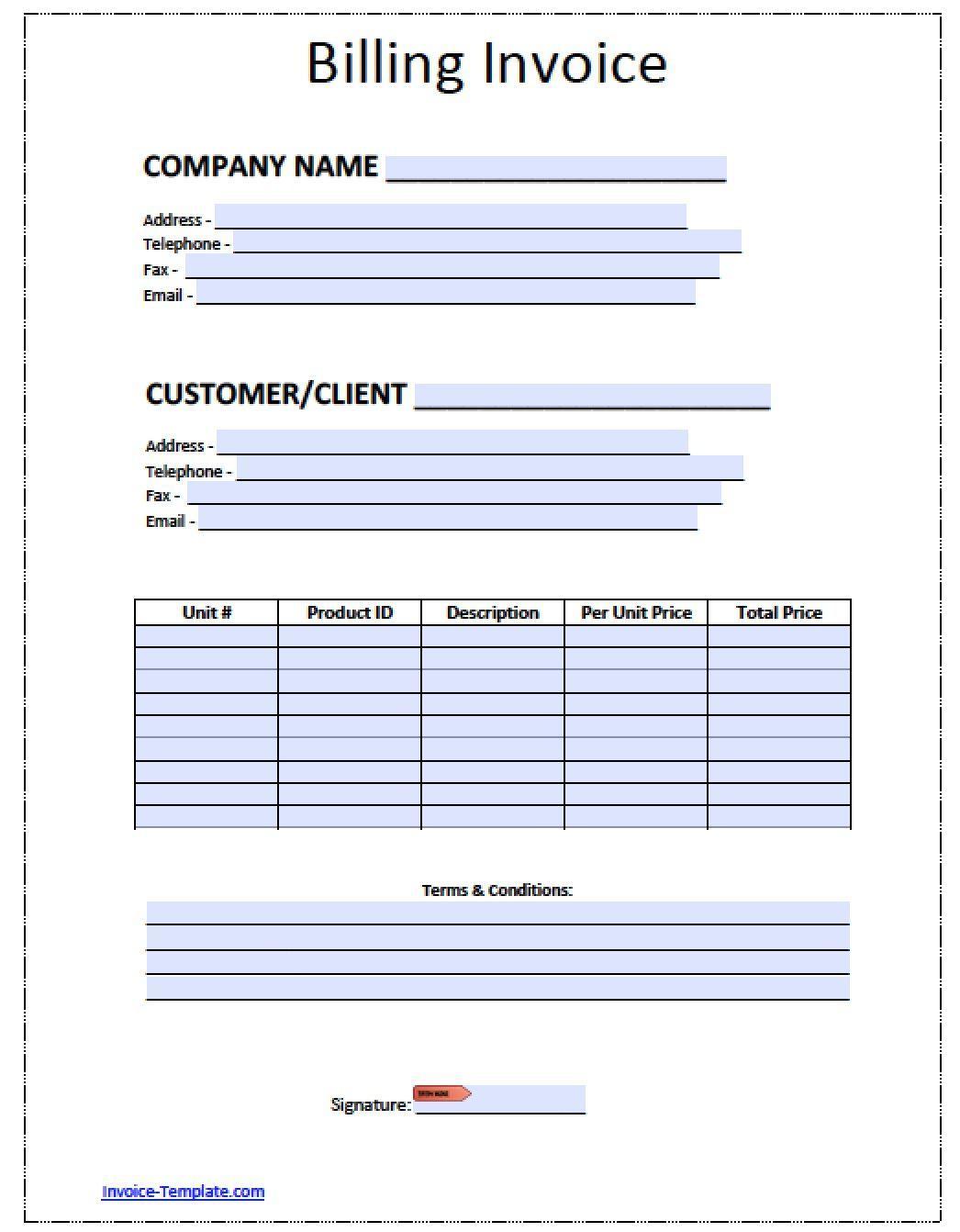 Billing Invoice Format