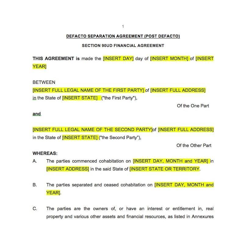 Binding Financial Agreement De Facto Template