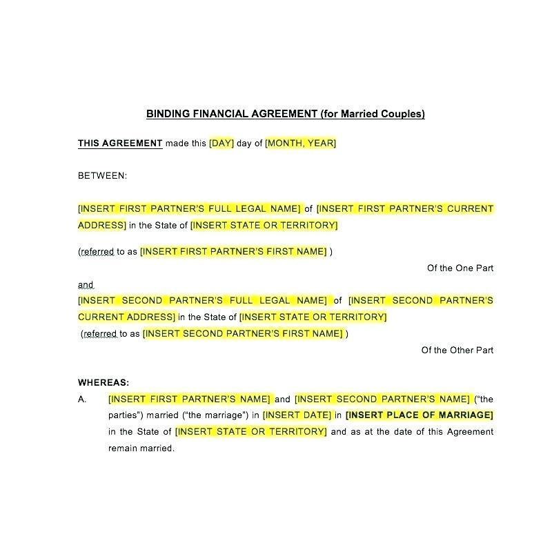 Binding Financial Agreement Template Australia