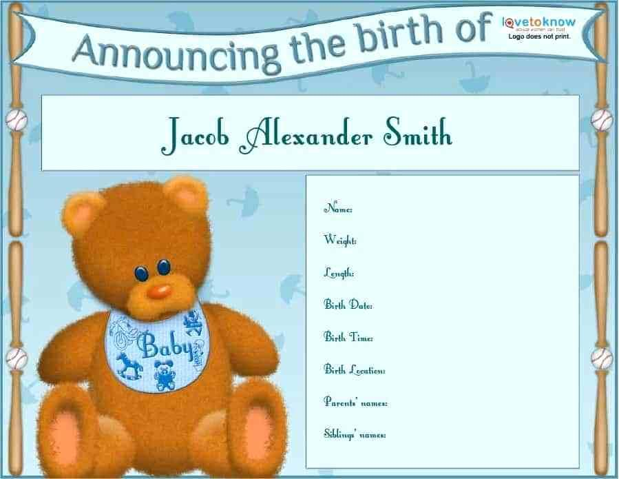 Birth Announcement Template For Facebook