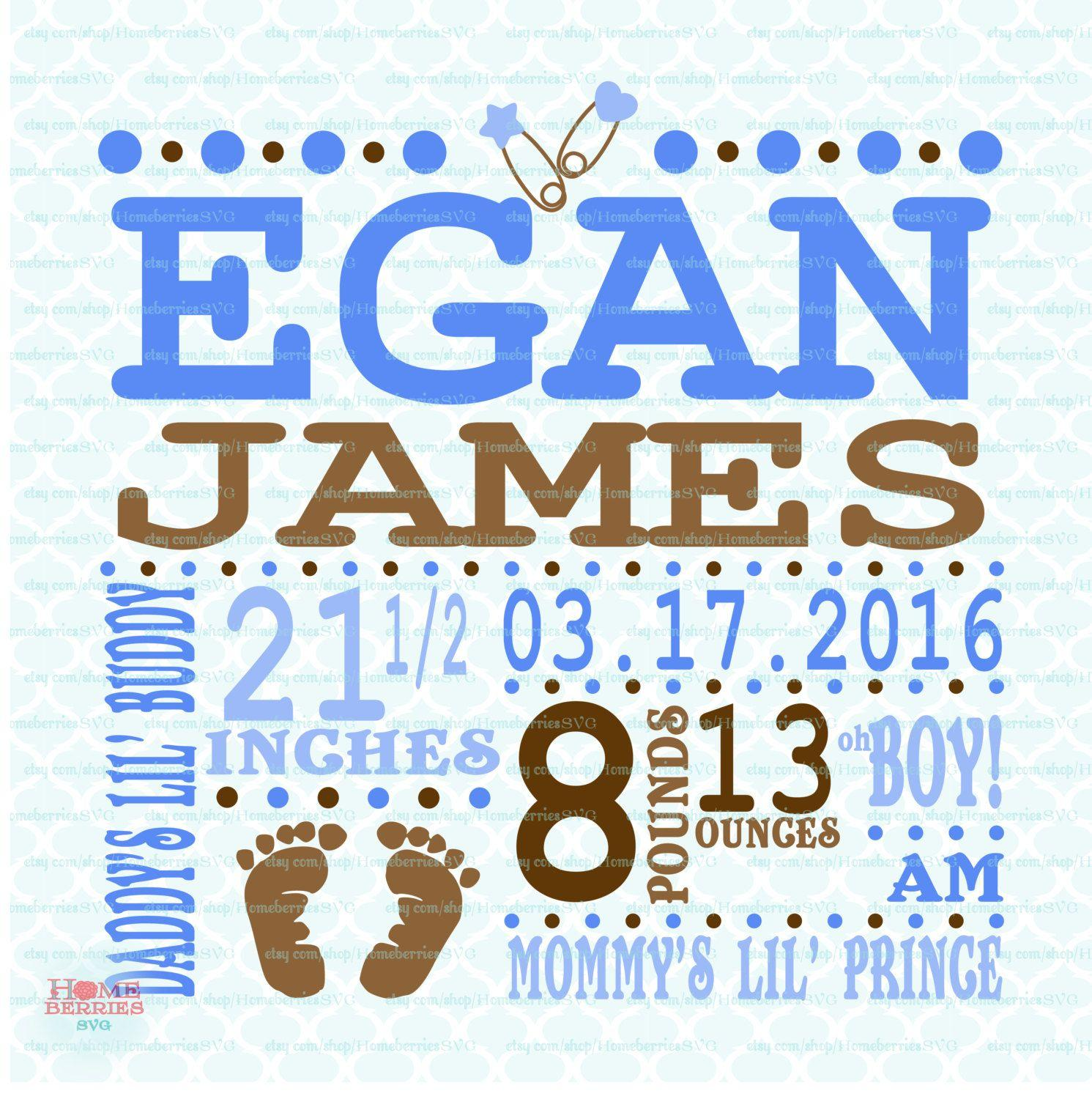 Birth Announcement Template Svg