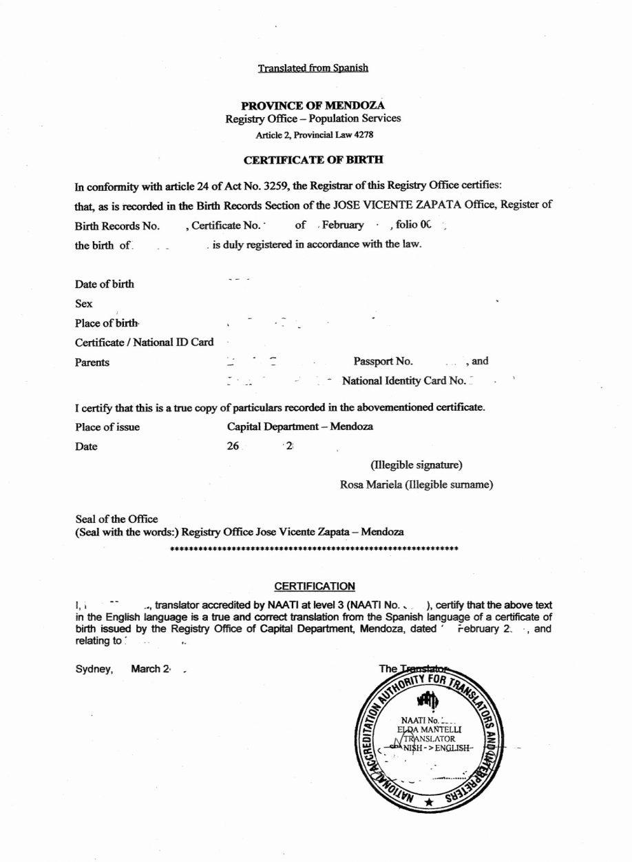 Birth Certificate Translation From Spanish To English Template