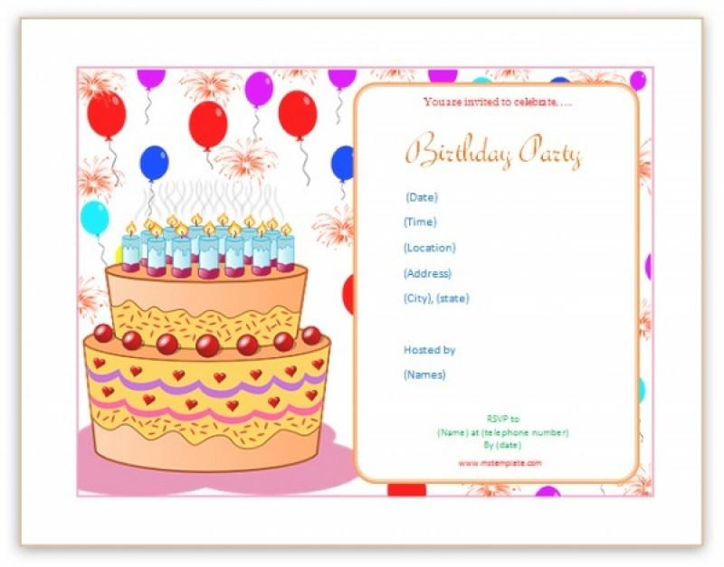 Birthday Party Invitation Template Microsoft Word