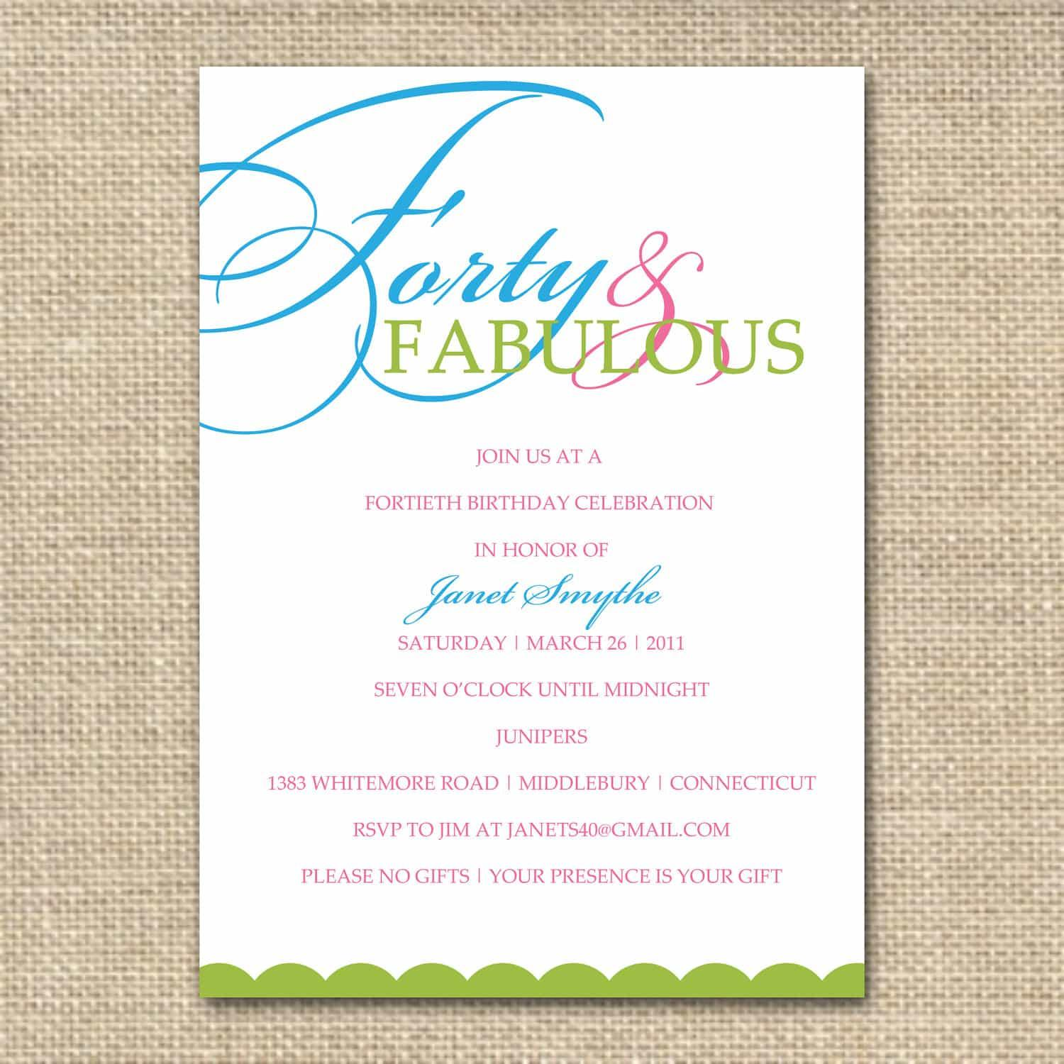 Birthday Party Invitation Templates Pdf
