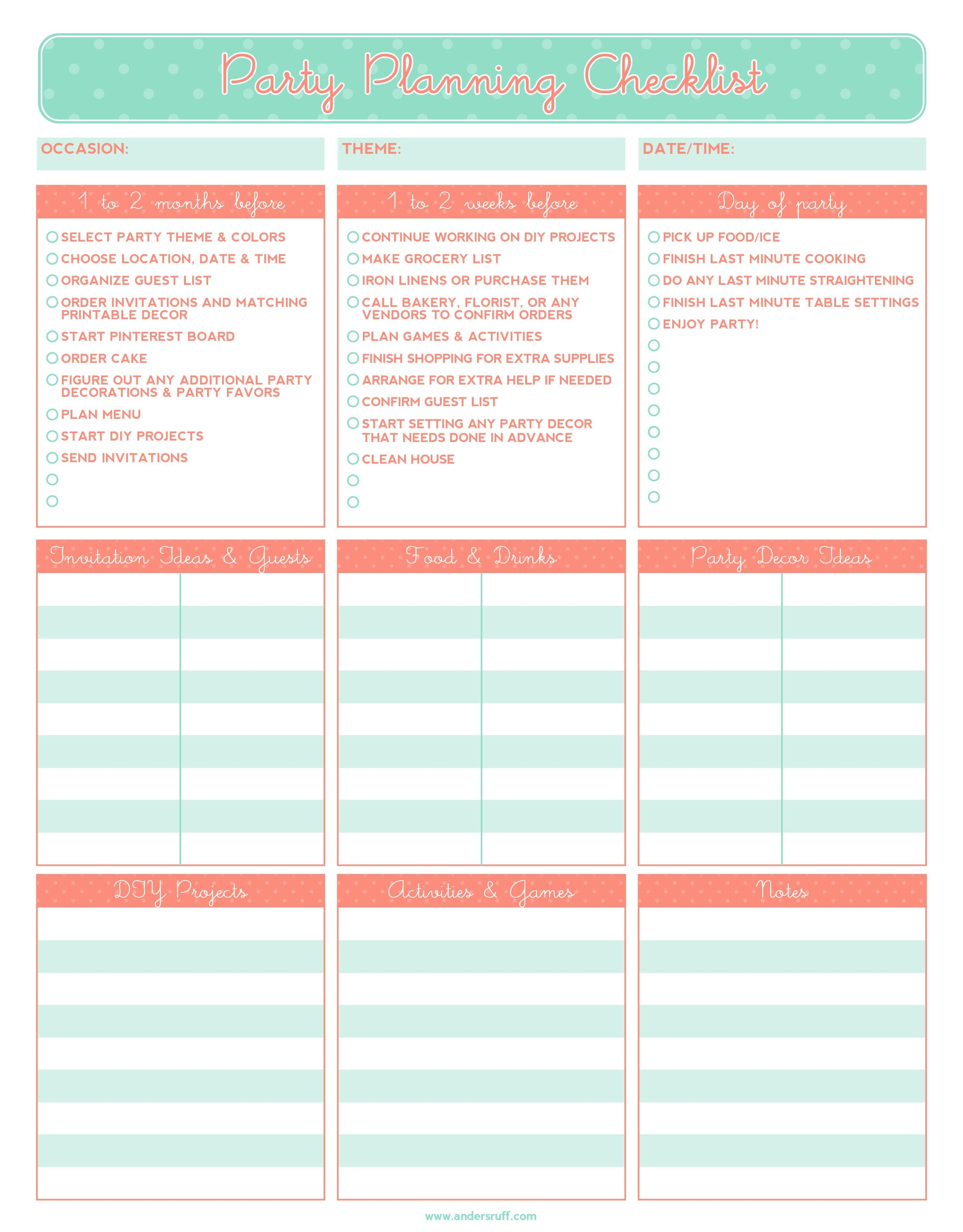 Birthday Party Planning Checklist Template Free