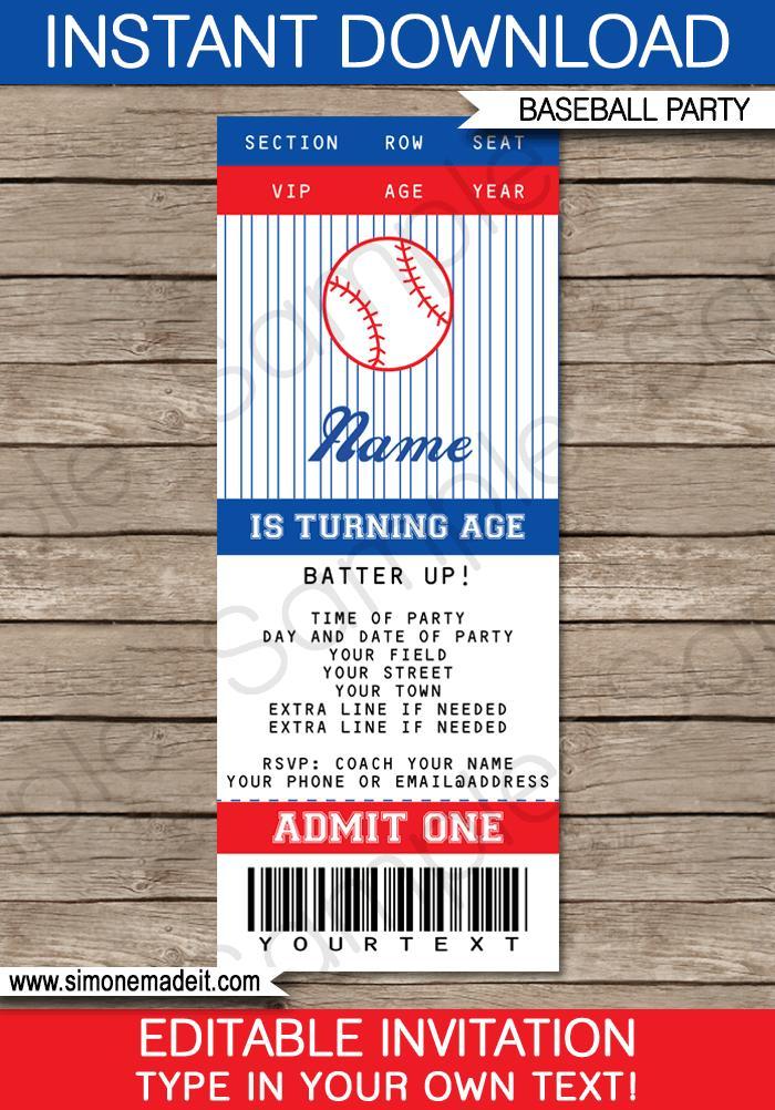 Birthday Party Ticket Invitation Template Free