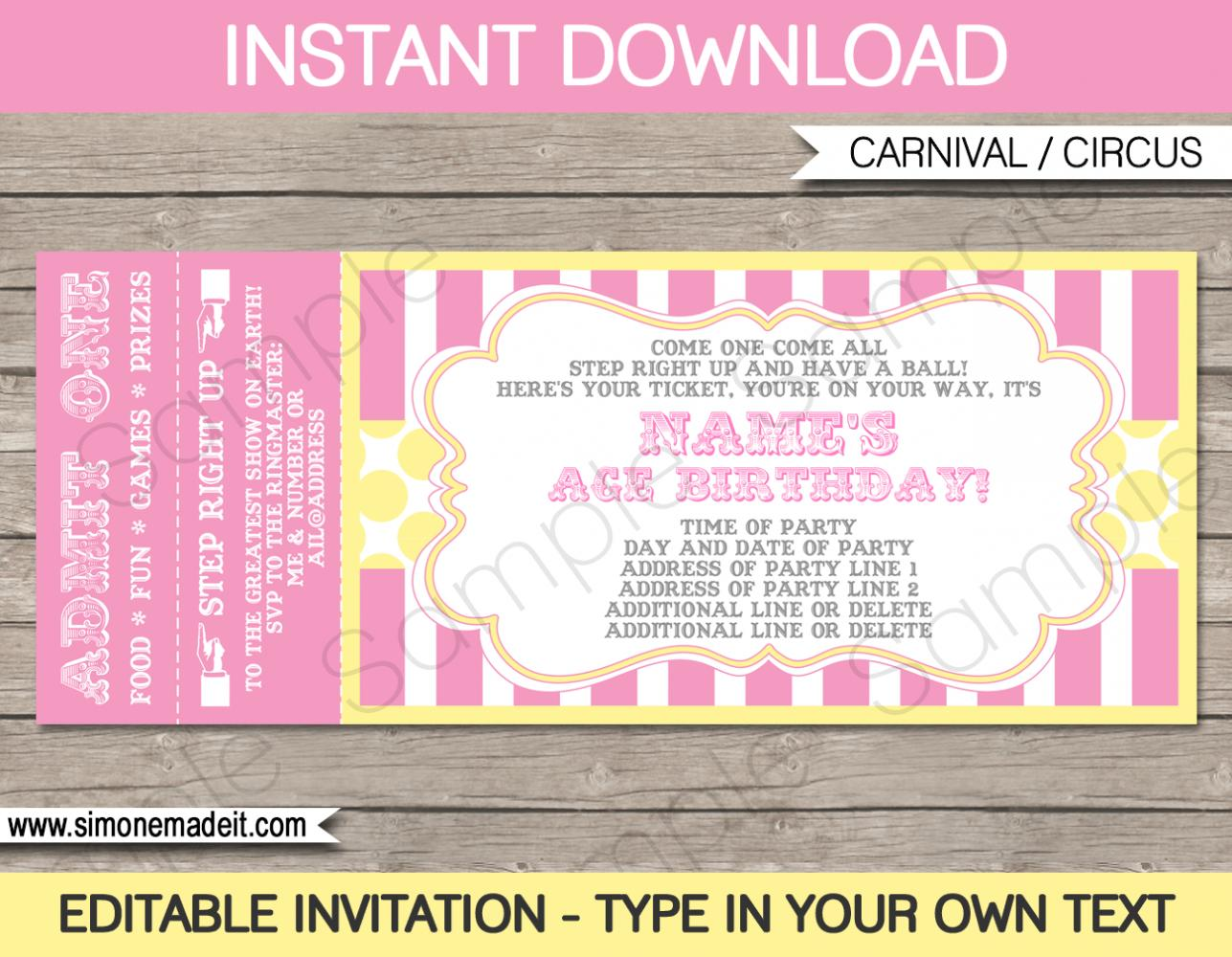 Birthday Ticket Invitation Template Free