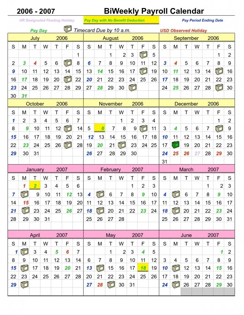 Biweekly Payroll Calendar Template 2017