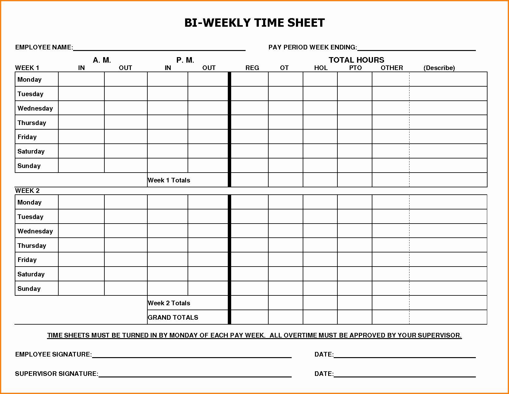 Biweekly Payroll Timesheet Template