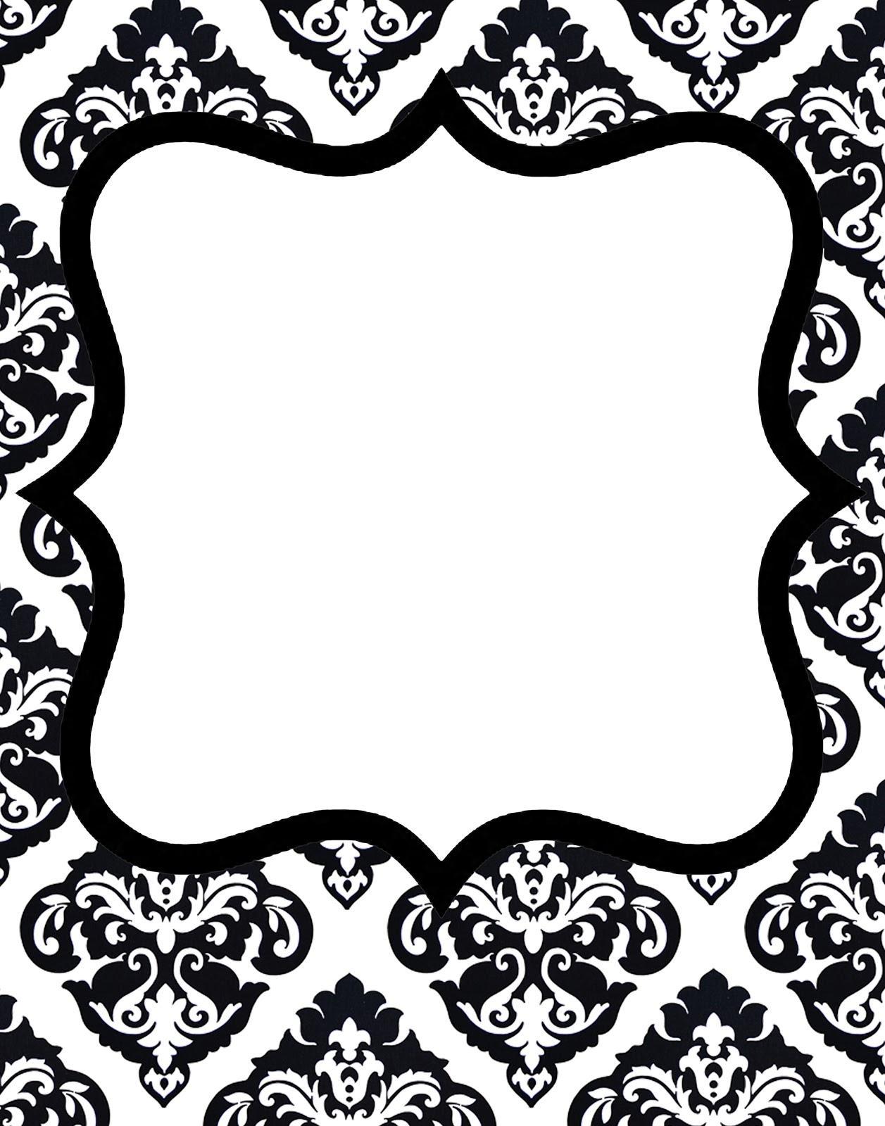 Black And White Damask Invitation Template