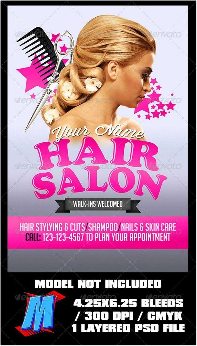 Black Hair Salon Flyer Templates