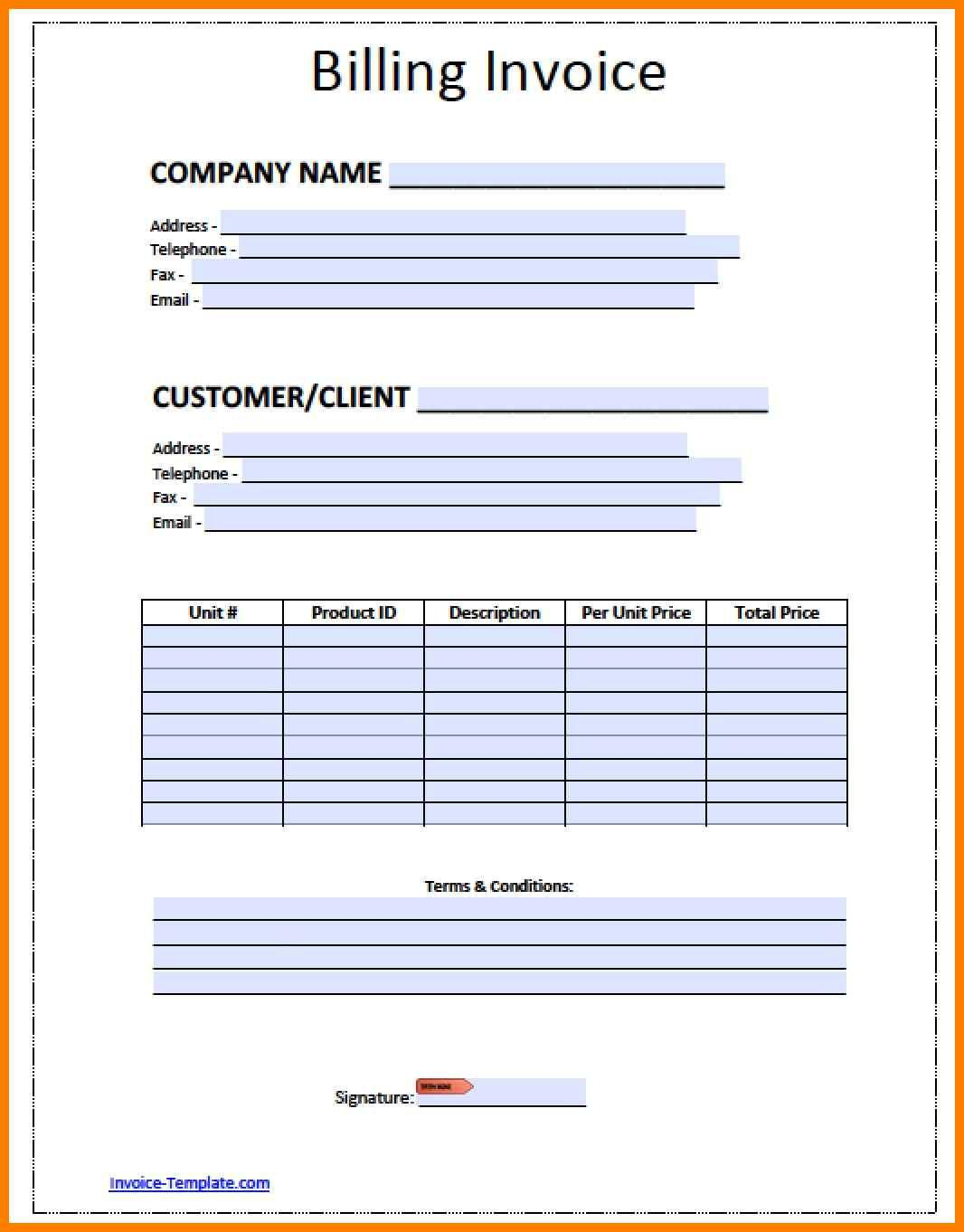 Blank Billing Invoice Template Pdf