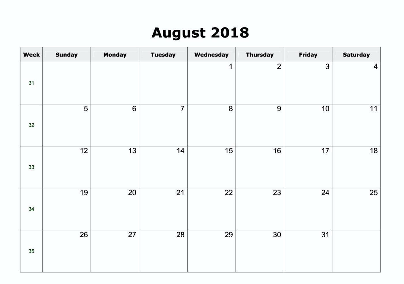 Blank Calendar Templates 2018