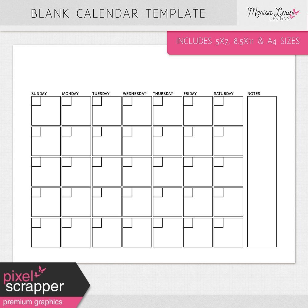 Blank Calendar Templates For Elementary School