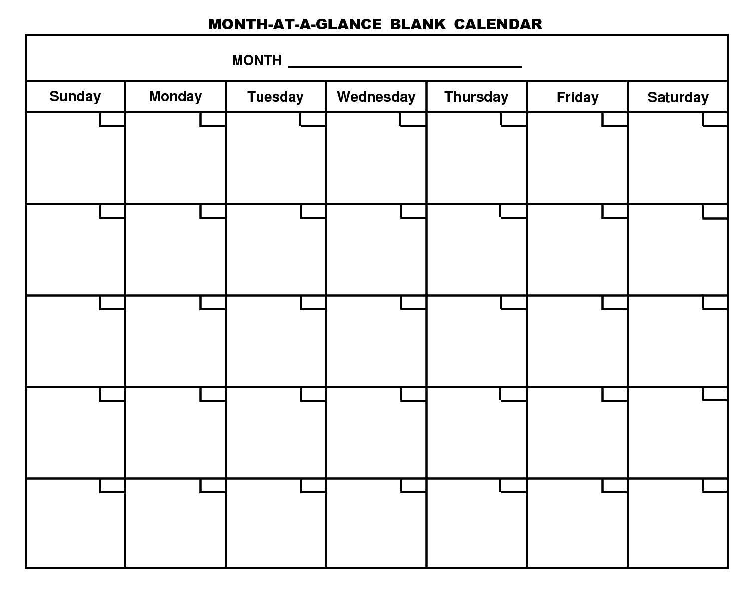Blank Calendar Templates Free