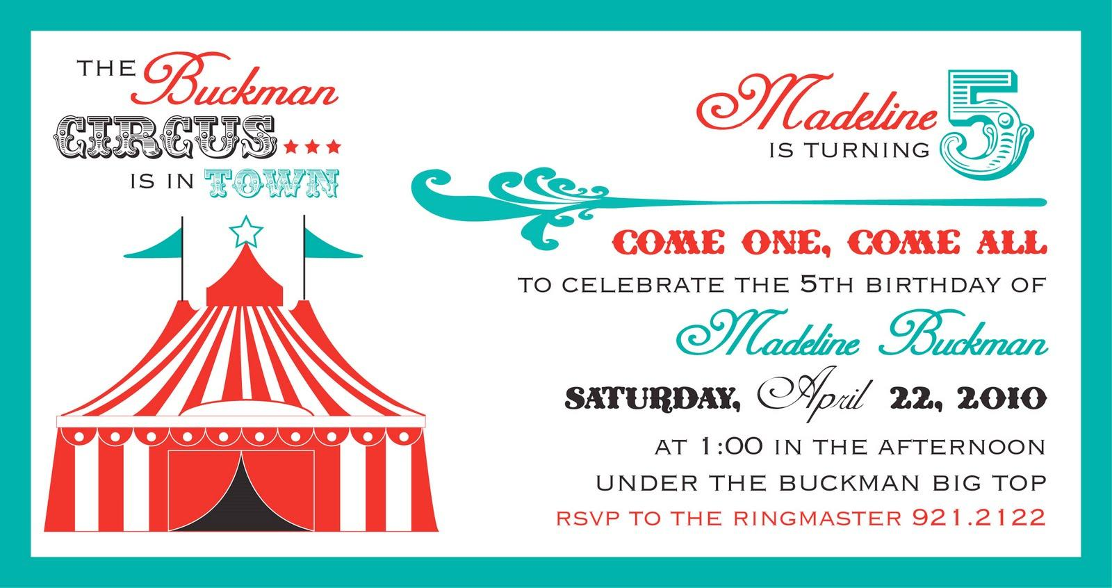 Blank Circus Invitation Template