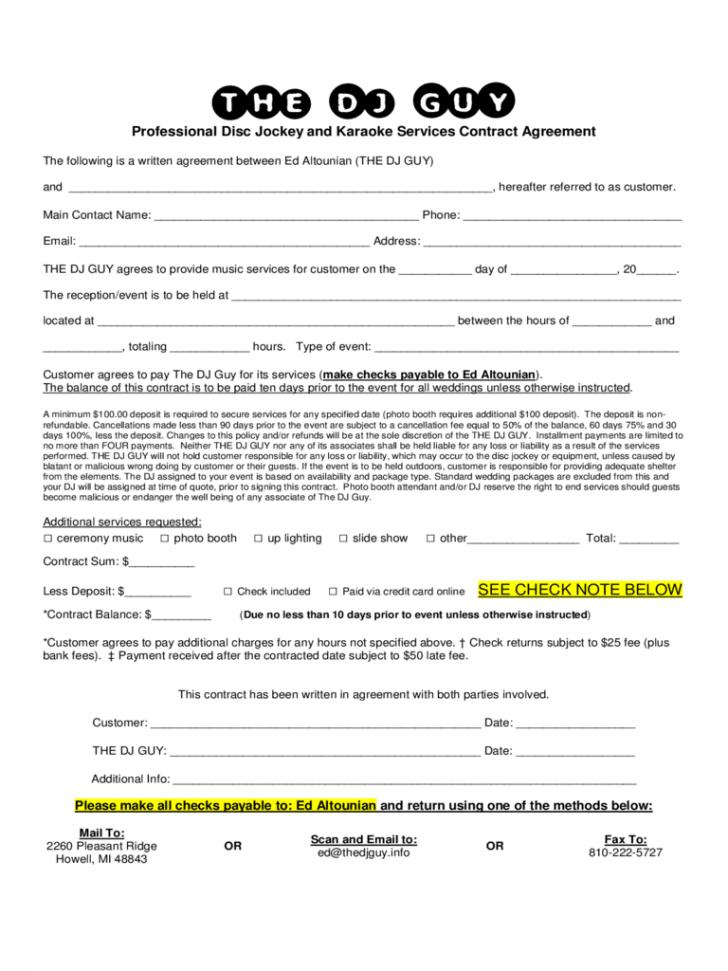 Blank Contract Forms Free