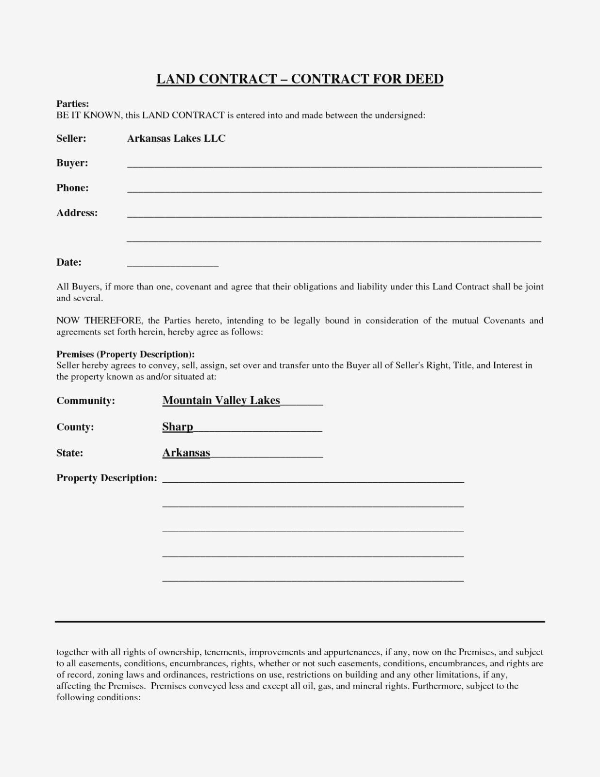 Blank Contract Forms