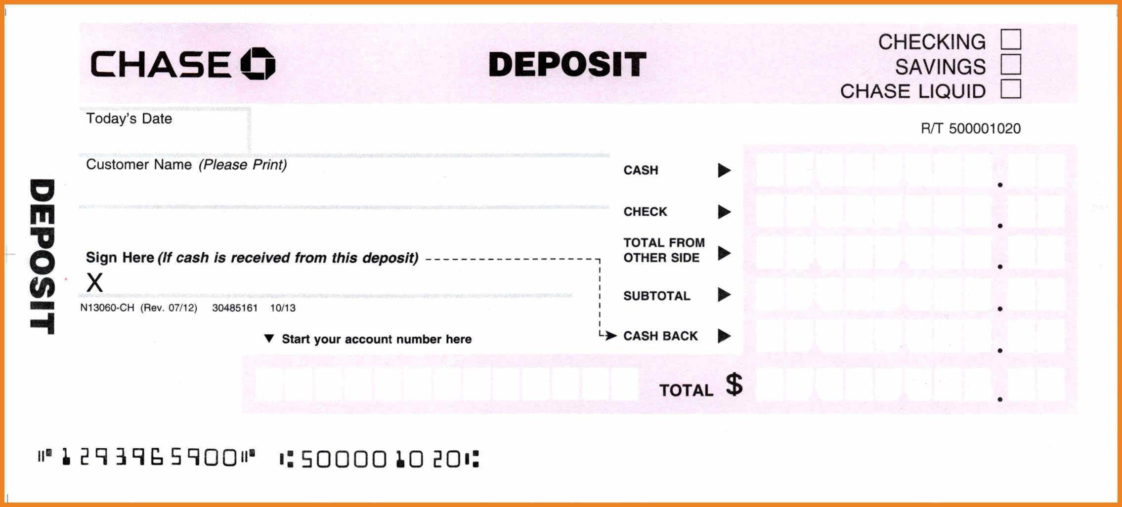 Blank Deposit Slip Template Free
