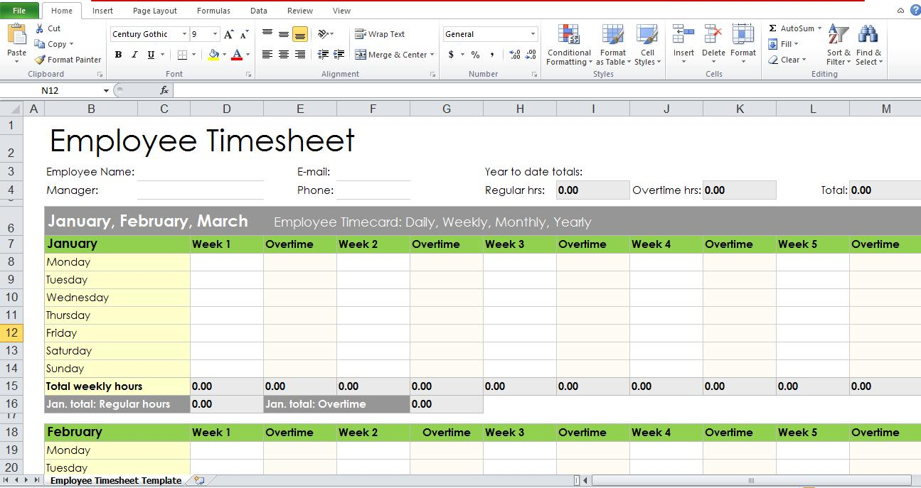 Blank Employee Timesheet Template