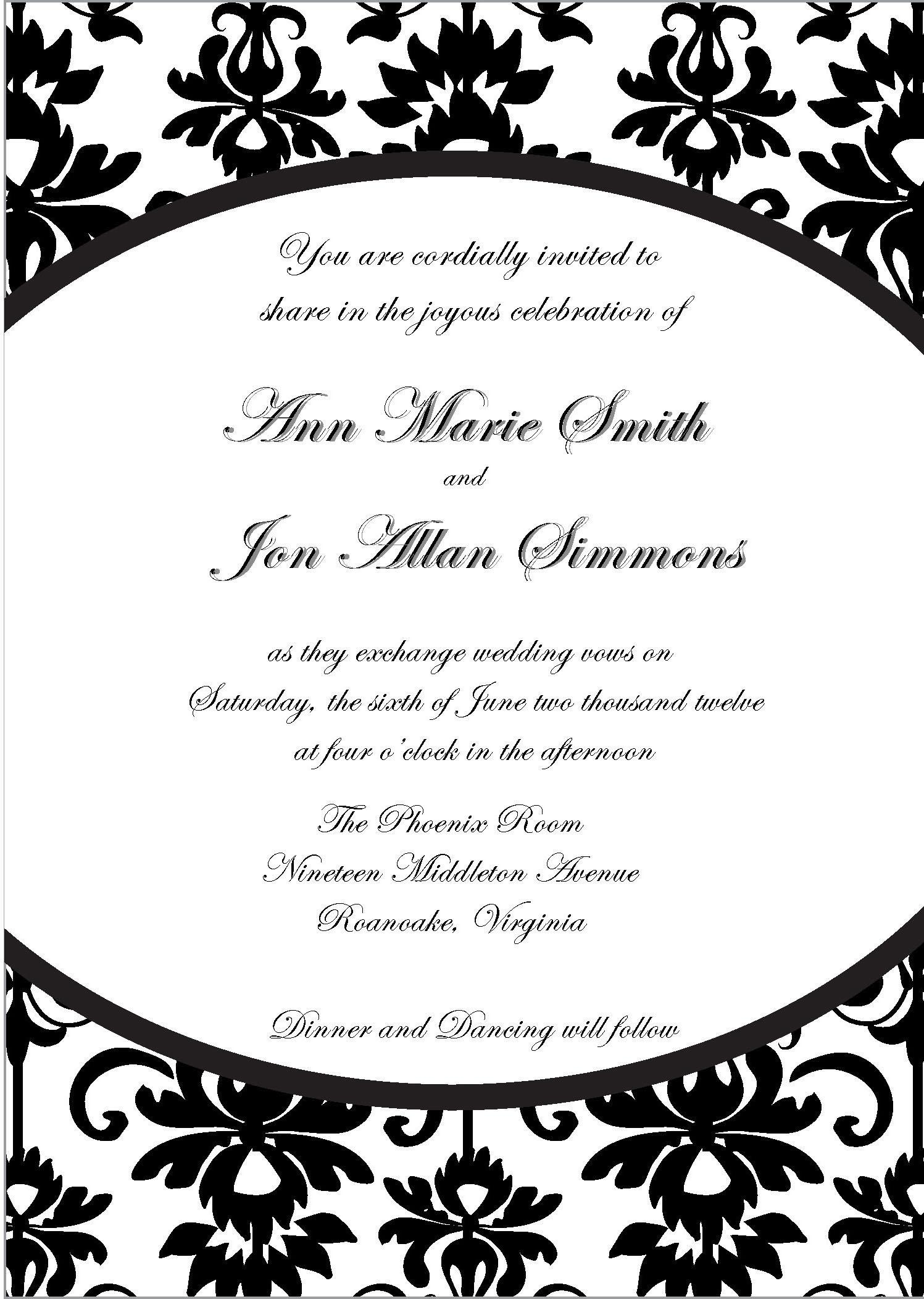 Blank Formal Invitation Templates
