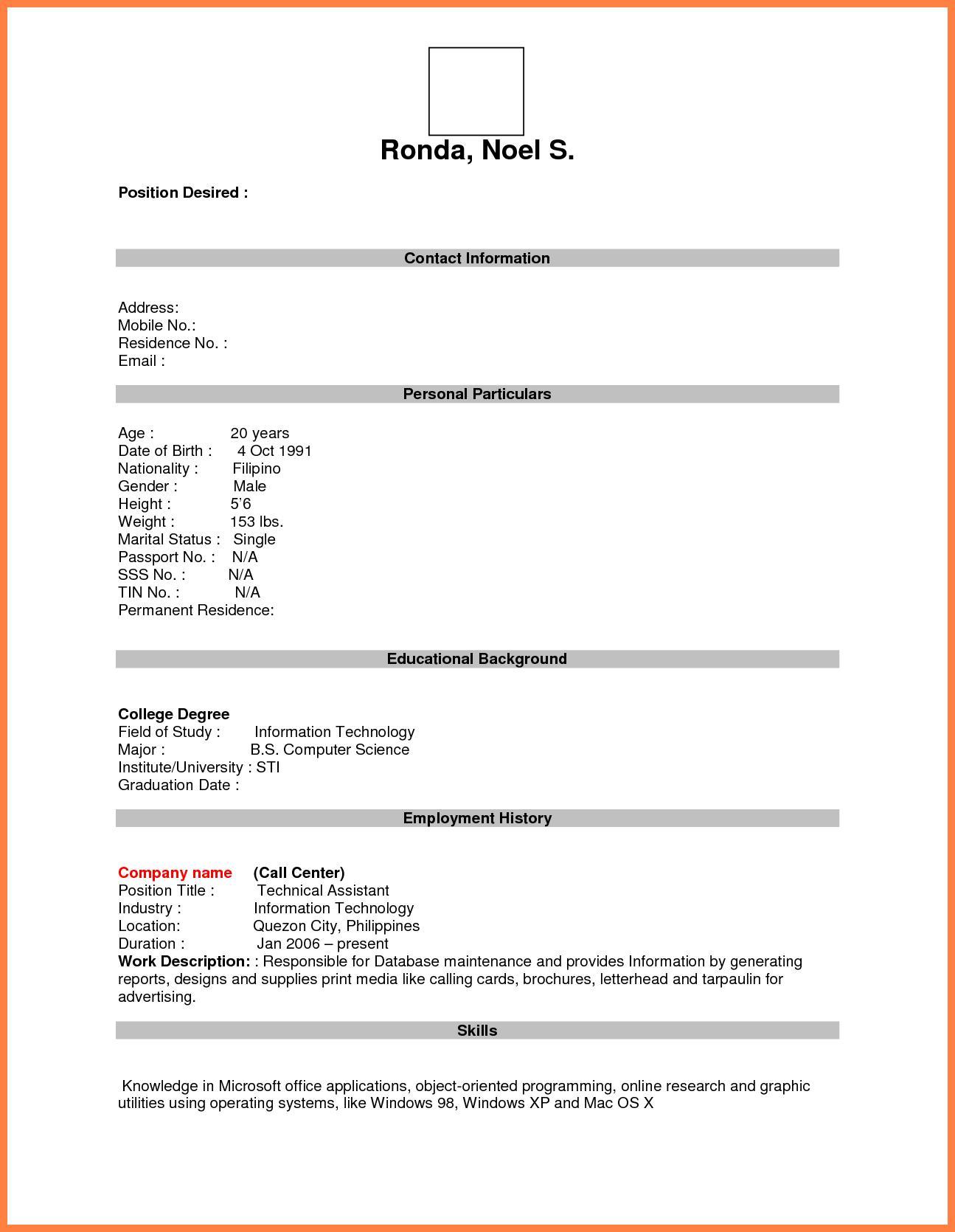 Blank Format For Resume