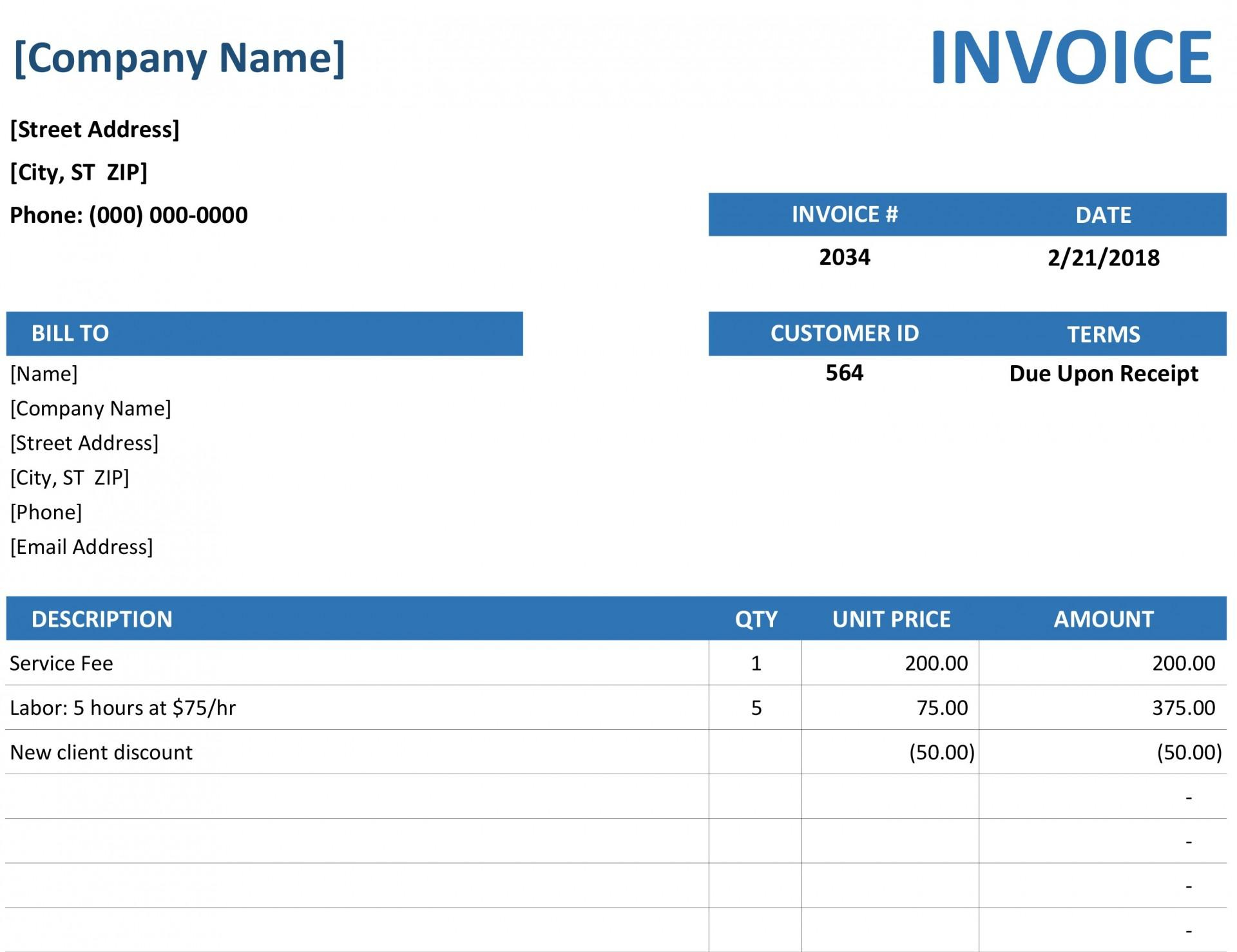 Blank Invoice Template Excel