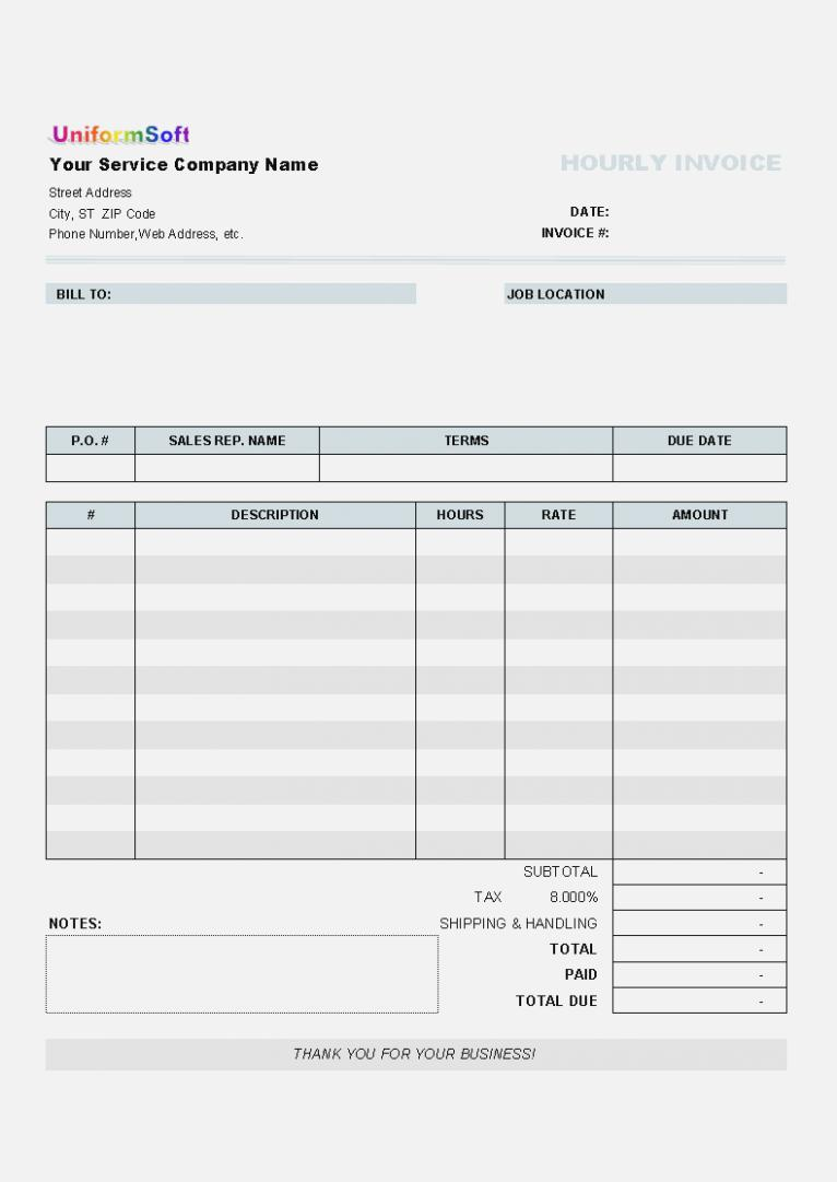 Blank Invoice Template Microsoft Excel
