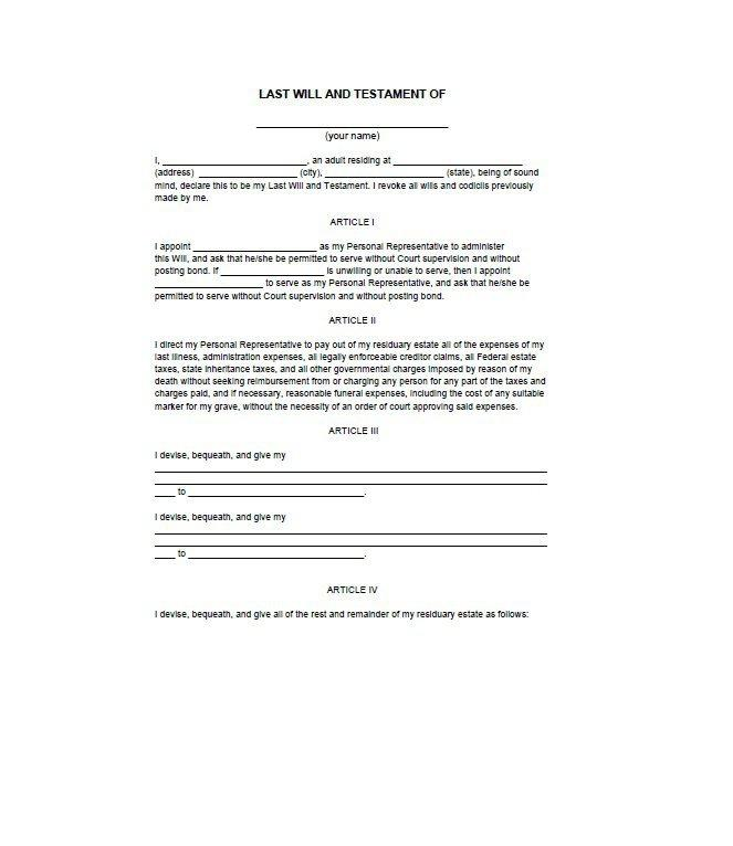 Blank Last Will And Testament Template Uk