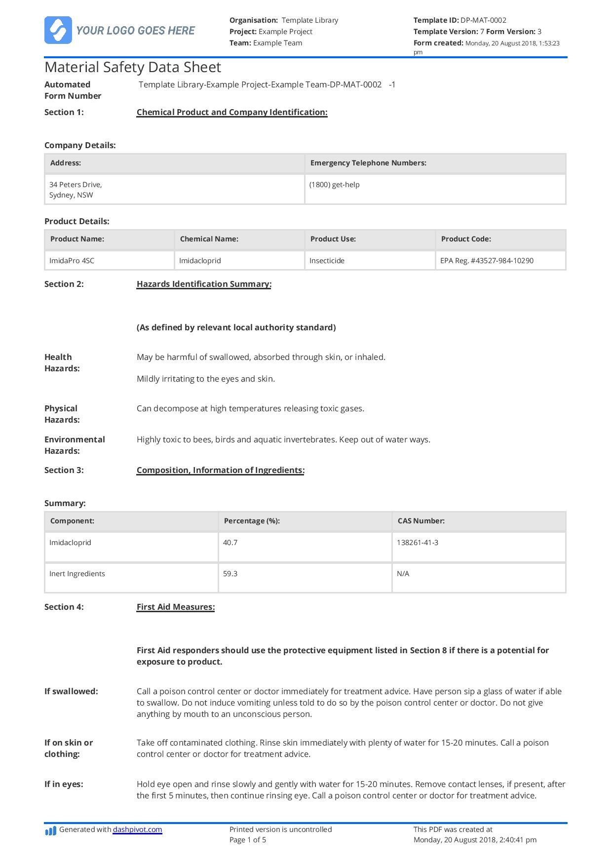 Blank Material Safety Data Sheet Example