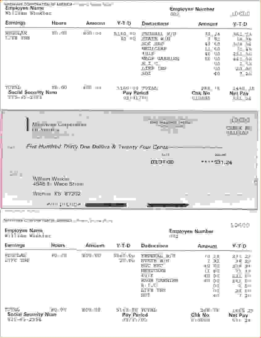 Blank Payroll Check Stub Template
