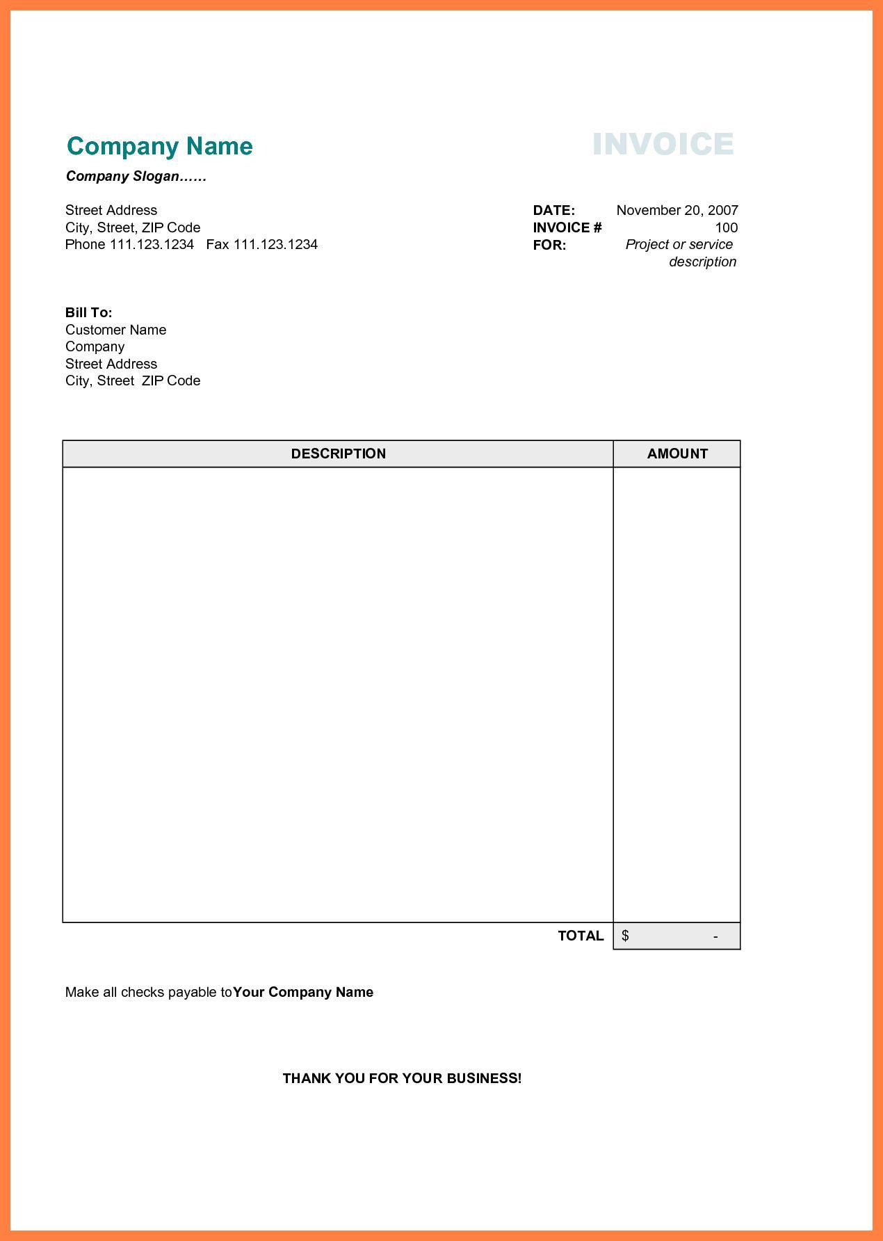Blank Proforma Invoice Format