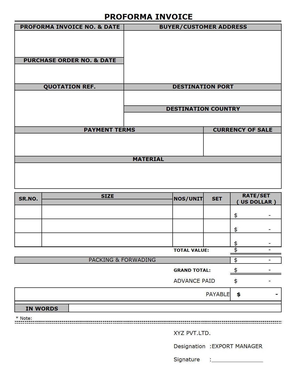 Blank Proforma Invoice Template Free