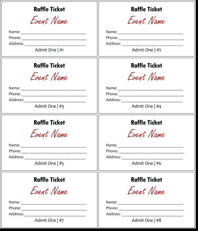 Blank Raffle Ticket Template Excel
