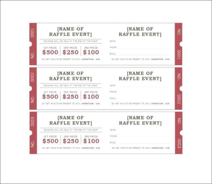 Blank Raffle Ticket Templates