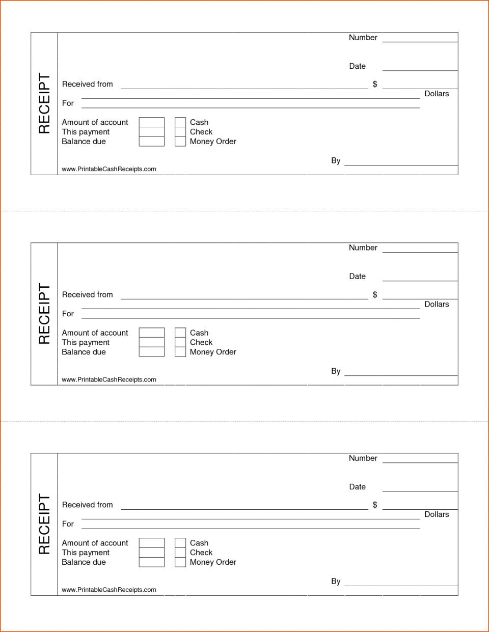 Blank Receipts Templates
