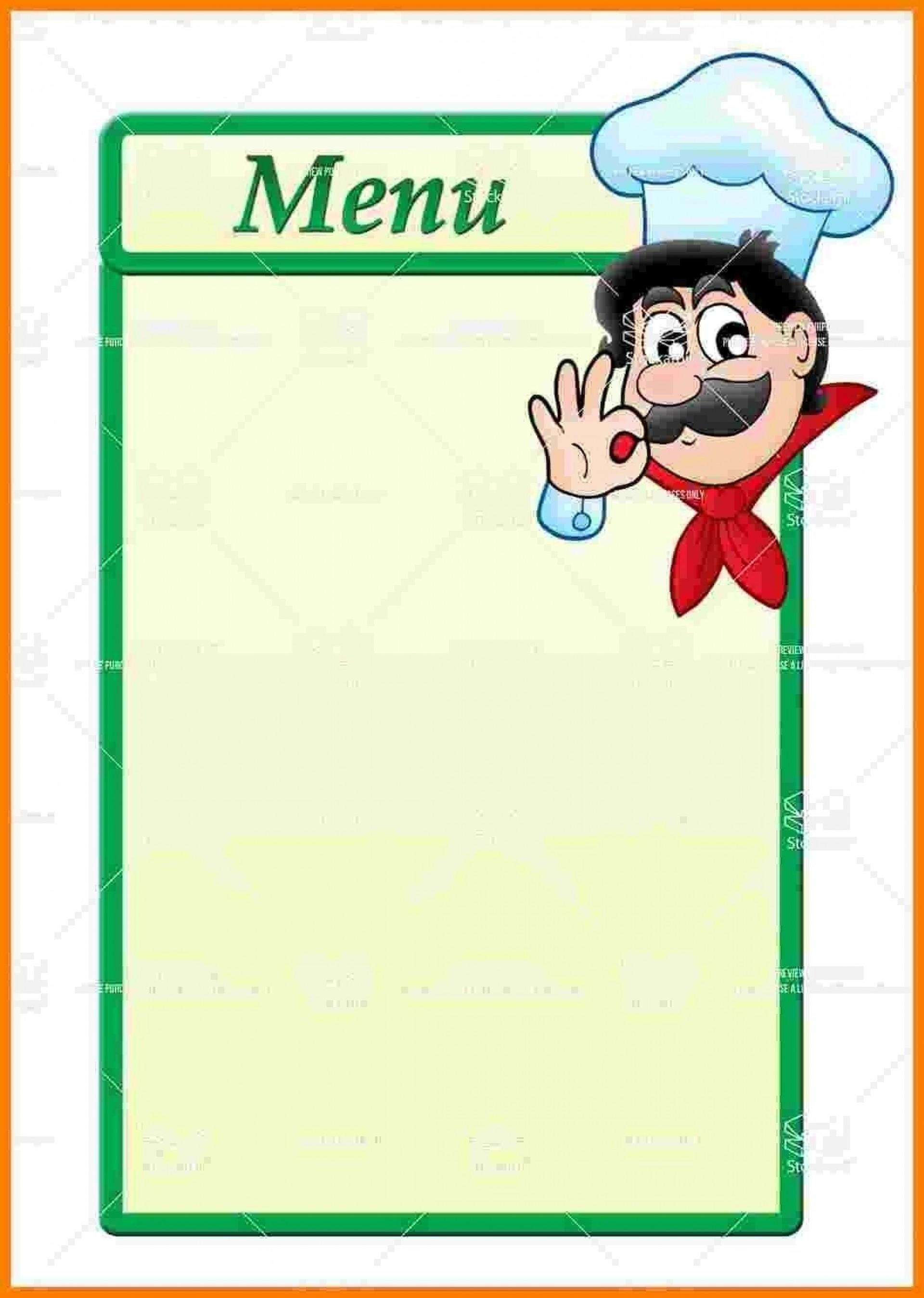 Blank Restaurant Menu Template Free