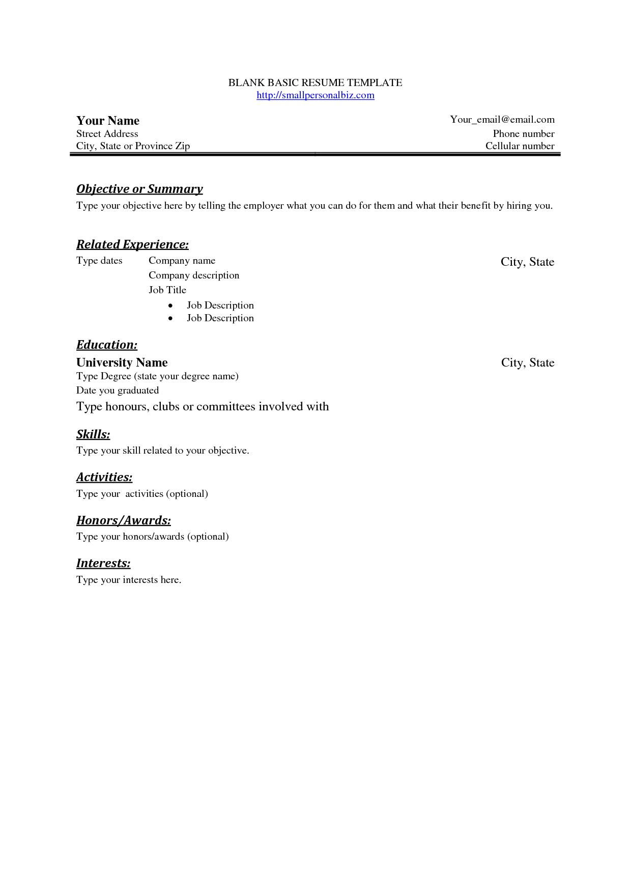 Blank Sample Resume