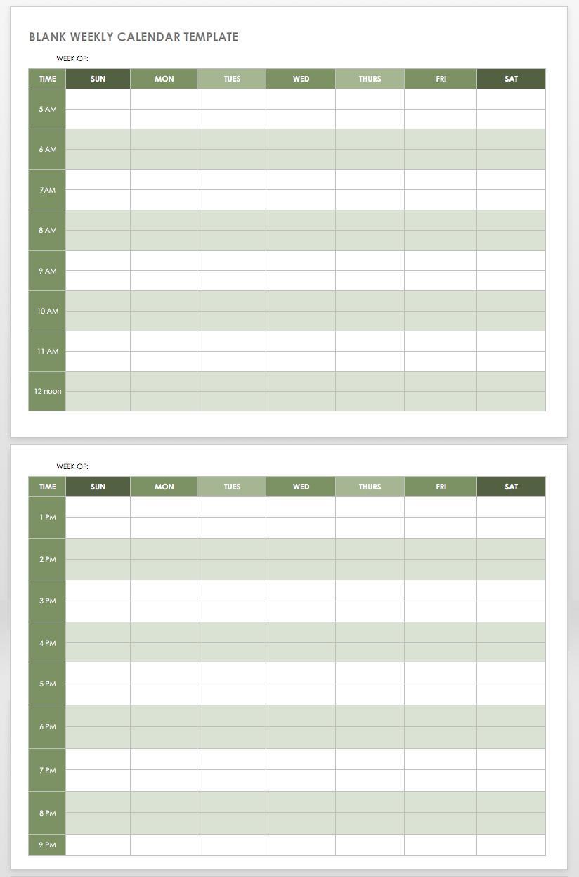 Blank Scheduling Calendar Template