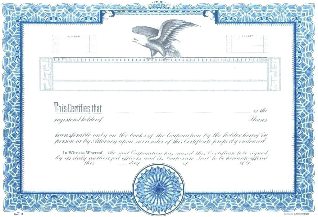 Blank Stock Certificate Forms Free