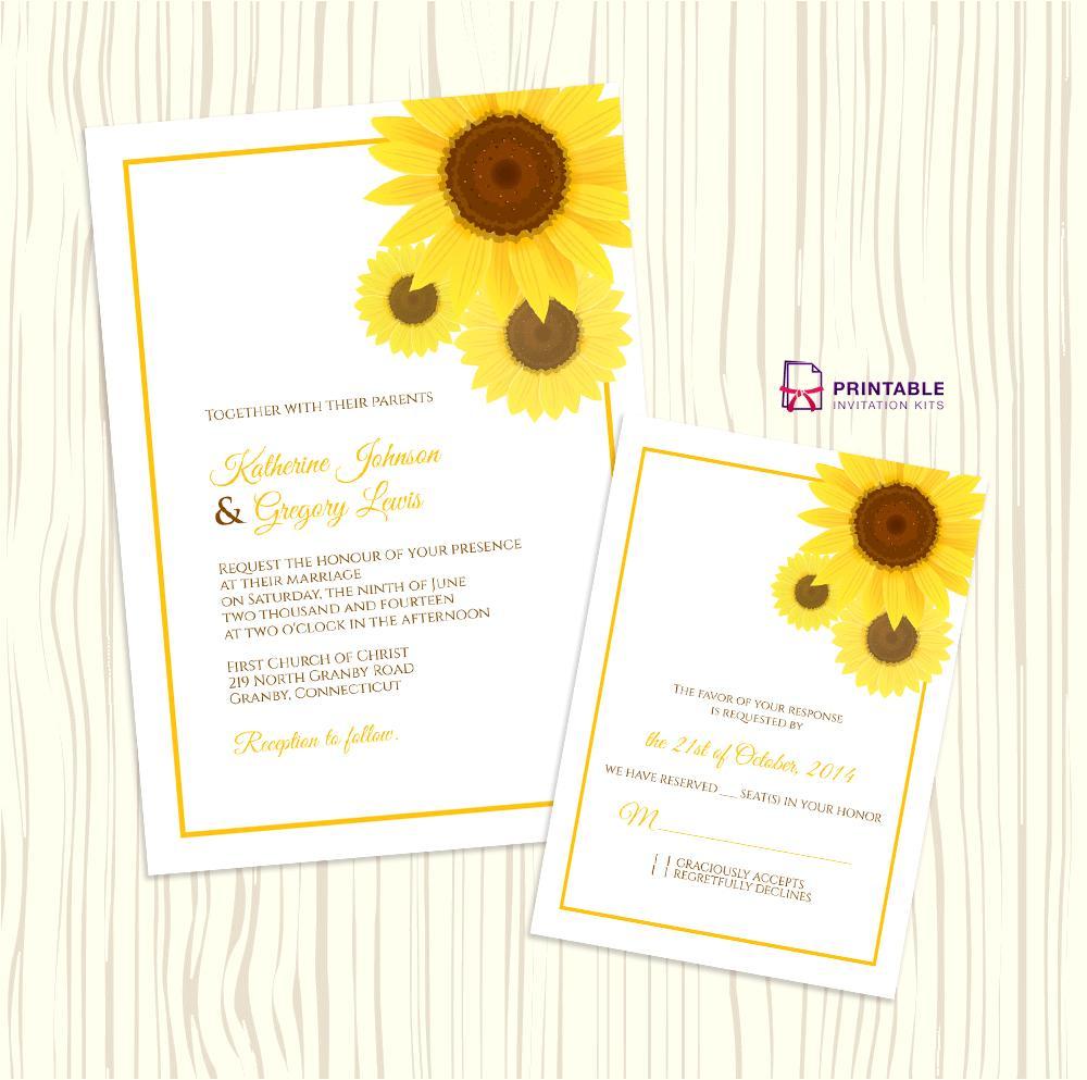 Blank Sunflower Invitation Template