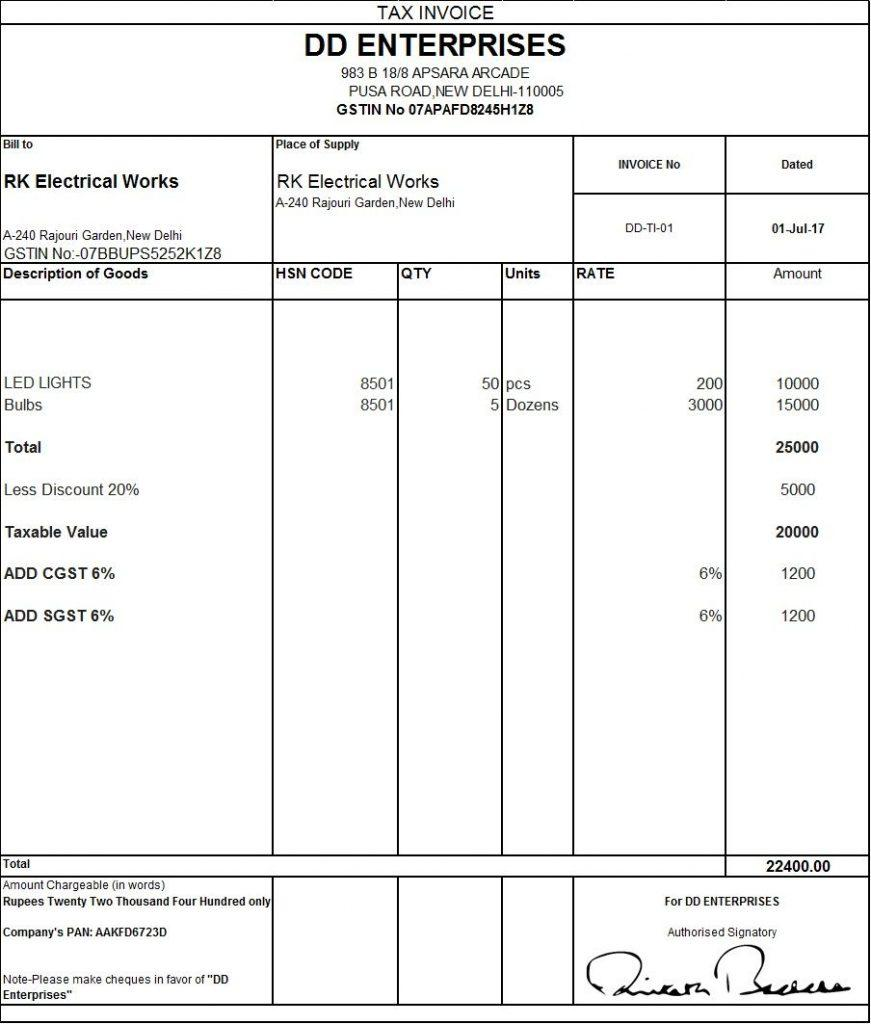 Blank Tax Invoice Template