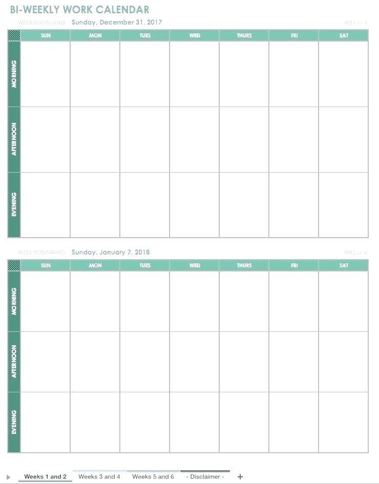 Blank Work Week Calendar Template
