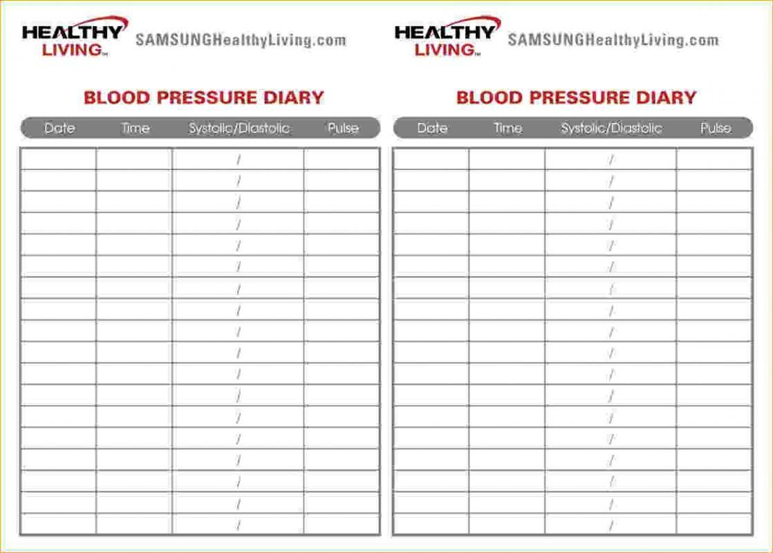 Blood Pressure Chart Template Pdf