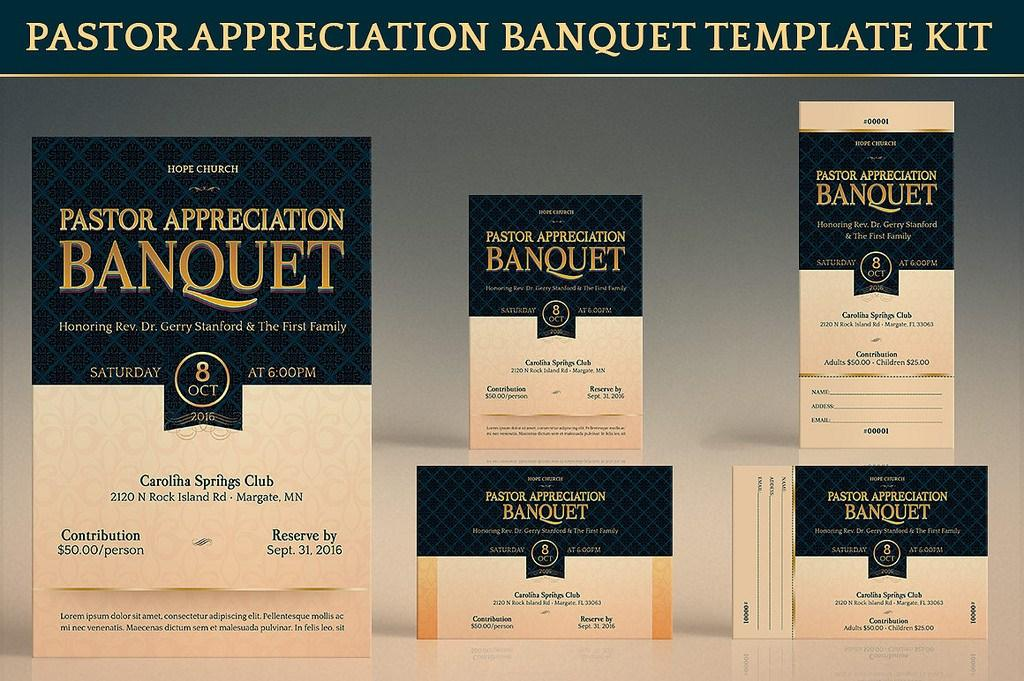 Blue And Gold Banquet Invitation Template